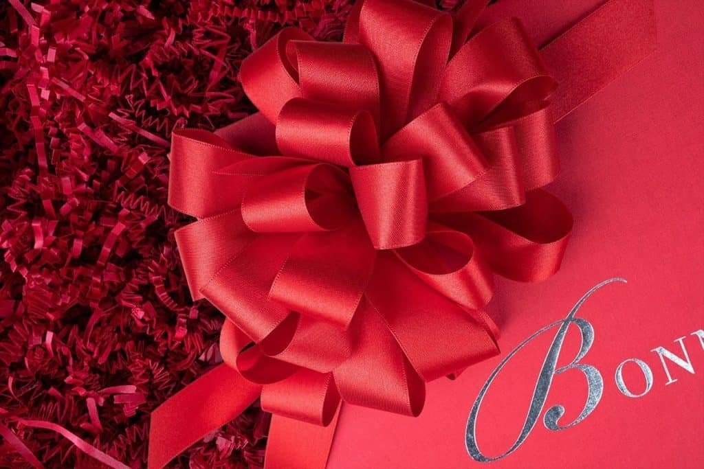 Our Luxury Packaging with beautiful handmade Bonnage signature red bow