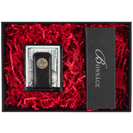 Bonnage Historic Buffalo Nickel Leather Money Clip with Chocolate Brownies Luxury Gift Box
