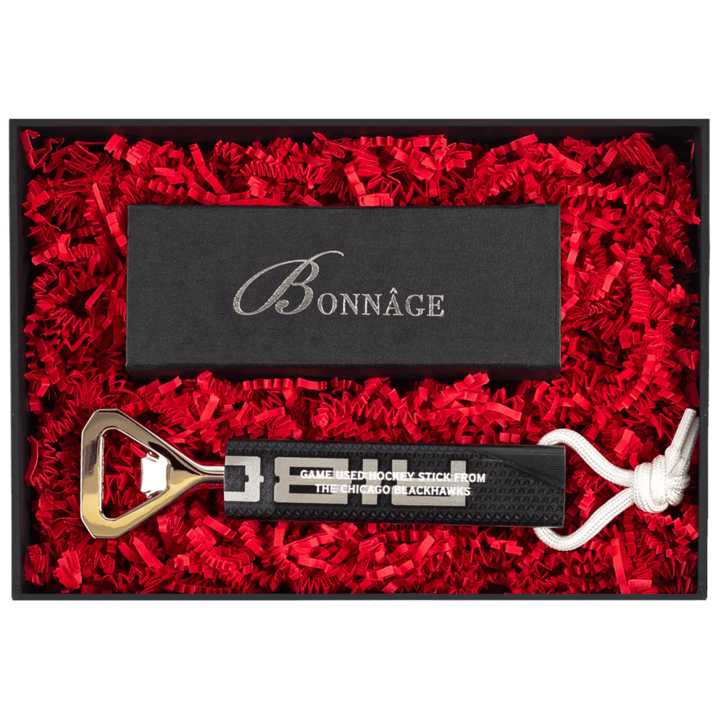 Chicago Black Hawks Game Used Stick Bottle Opener with Chocolate Brownies Luxury Gift Box