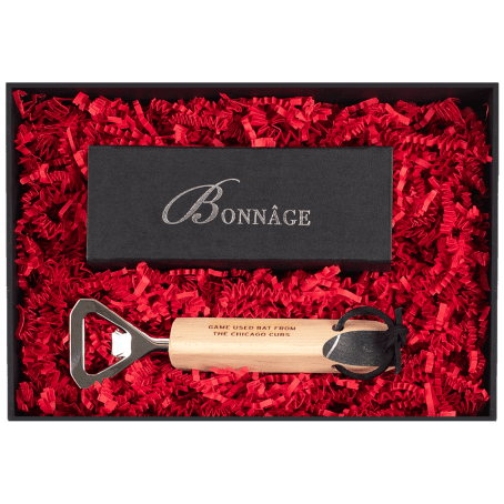 Chicago Game Used Bat Bottle Opener with Chocolate Brownies Luxury Gift Box
