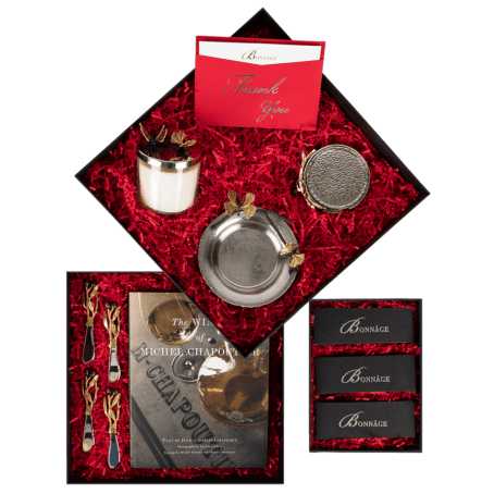BONNÂGE Signature Aram Showcase your greatest gratitude with an exquisite collection of wine-inspired, luxury gifts!  Wines of Michel Chapoutier  Butterfly Gingko Scented Candle  Butterfly Gingko Wine Dish  Olive Branch Gold Drink Coaster Set  Olive Branch Spreader Set  Signature Fairytale Brownies