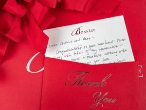 luxury handwritten thank you notes and gifts from Bonnage