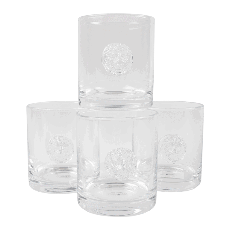 Set of Four Lion Head Drinking Glasses