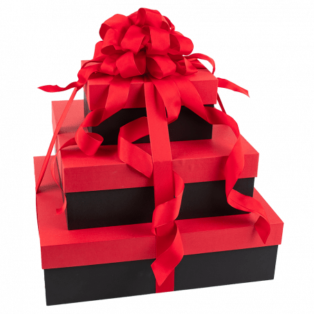 Red and black gift boxes stacked on top of each other, wrapped in red ribbons