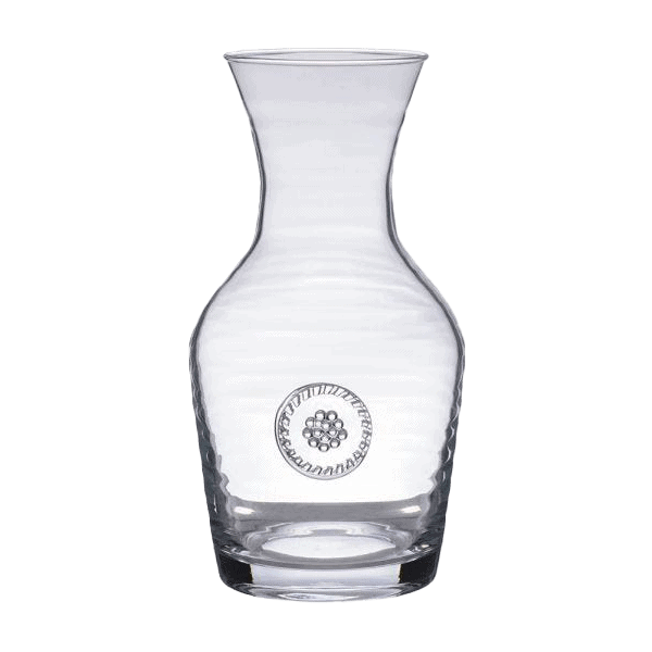 glass wine carafe with berry stamp