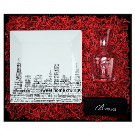 gift box containing chicago word platter, glass wine carafe