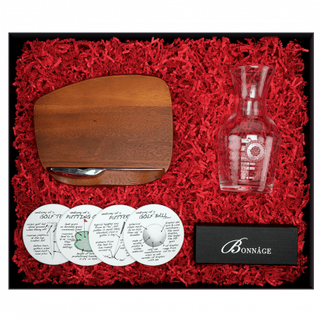 gift box containing wooden bar board, golf anatomy coasters, glass wine carafe