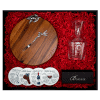 gift box containing wooden cheese board, cheese fork, wine anatomy coasters, glass wine carafe